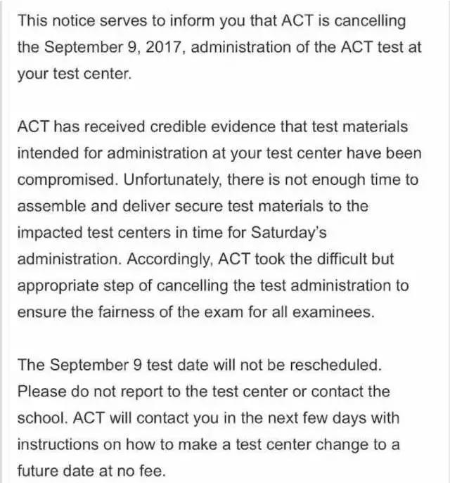 9月ACT考场大范围取消 变故之大史无前例